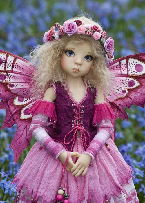 Modeling this lovely pink fairy commission is my cute Layla by Kaye Wiggs