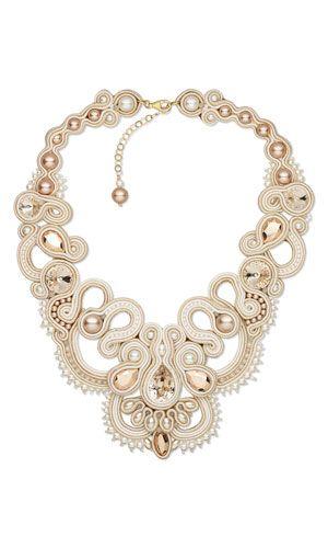 Bib-Style Necklace with Swarovski Crystal and Soutache Cord