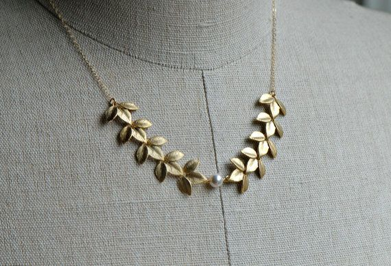 Gold Leaf Necklace Grecian Necklace Gold Pearl Necklace