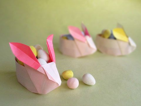 How to Make an Origami Easter Rabbit Basket by Origami Spirit: Origami Easter, Rabbit Baskets, Origami Spirit, Easter Rabbit, Easter Baskets, Baskets Tutorials, Origami Rabbit, Art Projects, Easter Ideas