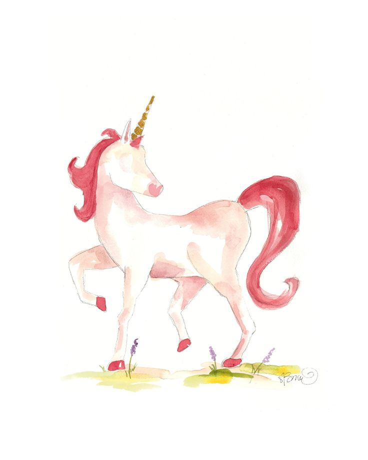 Watercolor Unicorn Print pink by SweetnSandy on Etsy