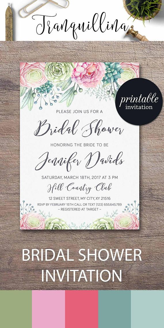 how early should you send out wedding shower invitations%0A Floral Bridal Shower Invitation Succulent Bridal Shower Invitation Pastel  Boho Shower ideas  wedding  succulent