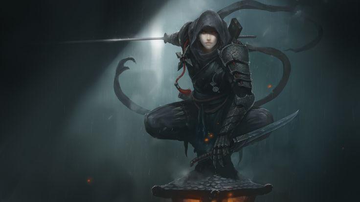 Download Wallpaper Art Girl Hood Armor His Weapons