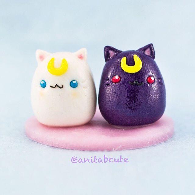 Luna and Artemis chubbies of Sailor Moon! ❤️❤️❤️. . . #handcrafted #handmade #ooak #oneofakind #polymerclay #polymerclaycharms #clay #fimo #sailormoon #luna #artemis #chubby #kitty #anime #cute #kawaii #love #diy #craft #crafts #anitabcute