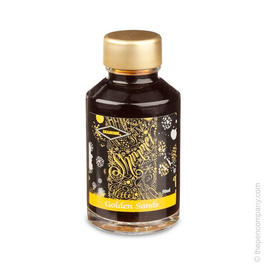 Diamine Shimmertastic fountain pen ink in Golden Sands. Yellow ink with a golden shimmer. Just £8.95. #glitter #sparkly