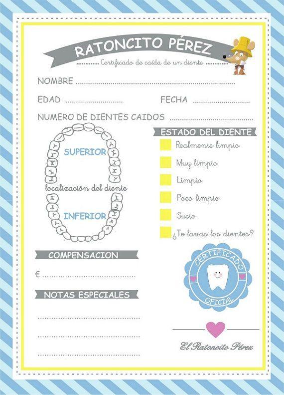 Certificado caída de dientes by LaGalletadeAzucar on Etsy