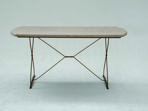 Standard Table with Sandstone Top and Rust Finish Base - Inside Out Home Boutique