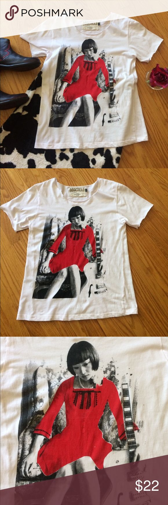 🍒 Mogwai Boutique Tee - Misses Size Med. - NICE! ❤️ This - Unique, Boutique Tee Made by Mogwai. In Misses Size Medium & In Great, Pre-Owned Condition! Imprinted Design of Woman Contemplating Something while holding onto her 🎸. 100% Cotton (Please see Photo for Measurements). White, Black & Red Colors. I like this tee paired with a Cow Print Vintage Skirt that I have (Sz. 6), & paired with Shortie or Black Cowboy Boots. This Tee Rocks! Thank you for shopping here. Bundle additional items to…