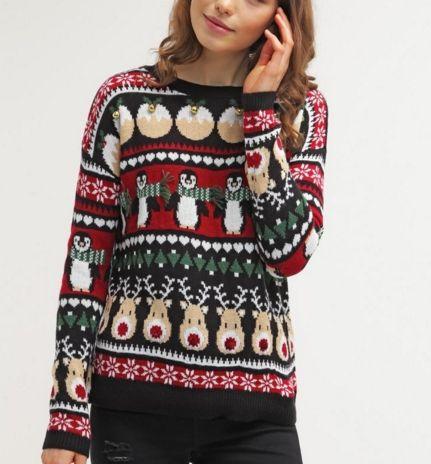 New Look Sweter świąteczny black