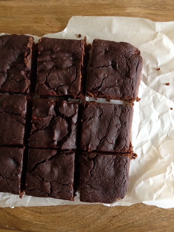 Dark Chocolate Chickpea Brownies (gluten-free!, sub flax eggs)