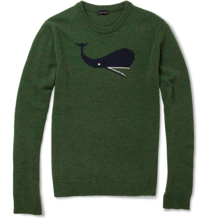 JIL SANDER  WHALE INTARSIA CAMEL AND WOOL-BLEND SWEATER