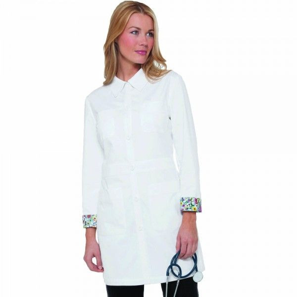 Koi Rebecca White Lab Coat. The Rebecca White Lab Coat has a tailored streamlined fit with minimalistic buttons making it a very practical easy to wear lab coat. The back inner lining of the lab coat has beautiful floral detail. This floral detail can also be seen in the inner cuffs. This white lab coat has a pointed shirt collar and 4 patch pockets. It is made of 55% cotton and 45% polyester soft twill for extra comfort. £27.99  #labcoat