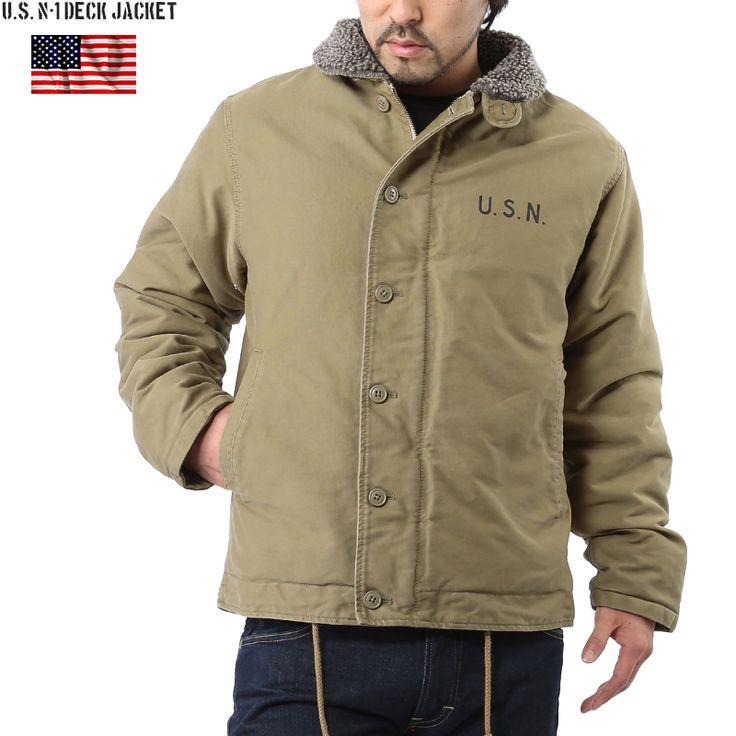 Military select shop WIP   Rakuten Global Market: N-1 deck jacket called the masterpiece we produced new U.S. Navy U.S.NAVY n-1 deck jacket plain U.S.N stencil KHAKI U.S. Navy winter