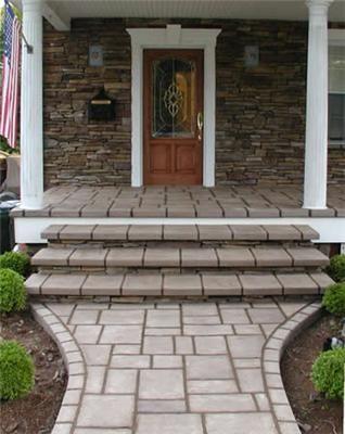 Traditional concrete steps and brick patios on pinterest - Brick porch steps designs ...