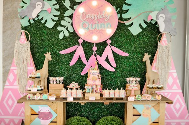 Quinn S Boho Chic Pastel Safari Themed Party Table Boho Themed Party Boho Birthday Party Safari Theme Party