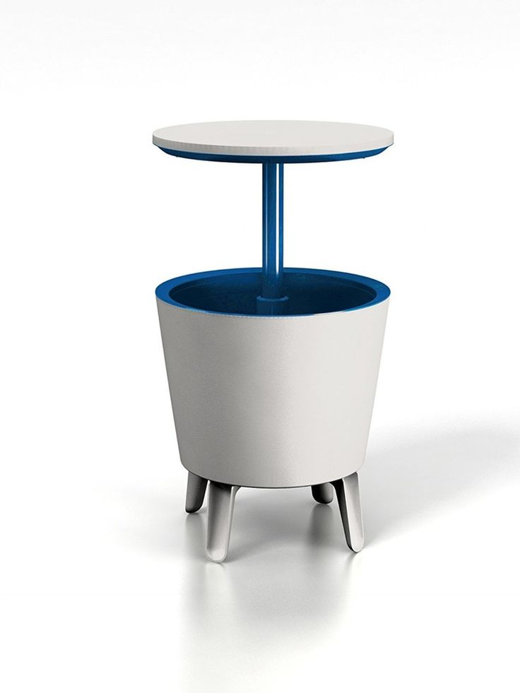 Outdoor Cool Bar Ice Cooler Table Plastic Garden Furniture Cream Blue Party #Keter