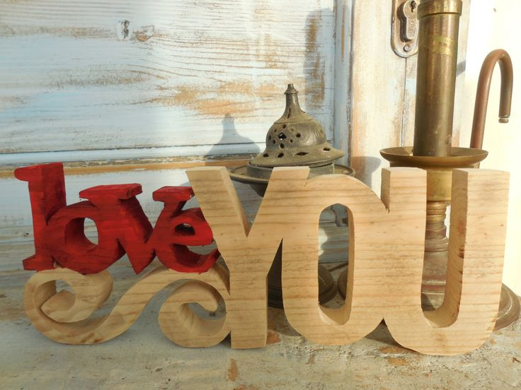 Wooden Valentine Red Love You, freestanding sign with scroll by DesertHeartsCo on Etsy