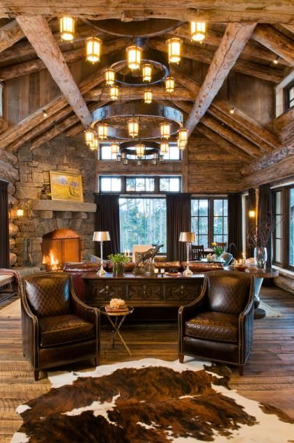 The Sitting Room Is Perfect For Family Or For Entertaining Western Style Architect Pearson Design Group Sr Rustic Log Home Living Decorating