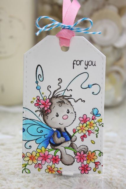 "Daydreaming to Create: Wee ""Mariposa"" tag from Whimsy Stamps, Zig Clean Color Real Brush markers, tag,"