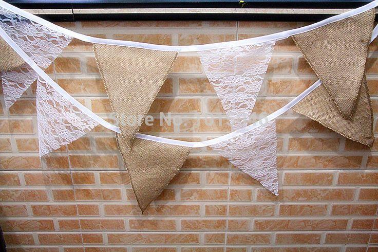 livraison gratuite 11pcs/set fanions dentelle de mariage toile de jute de hesse bruant bannière fanions décoration de partie faveur accessoires photo(China (Mainland))