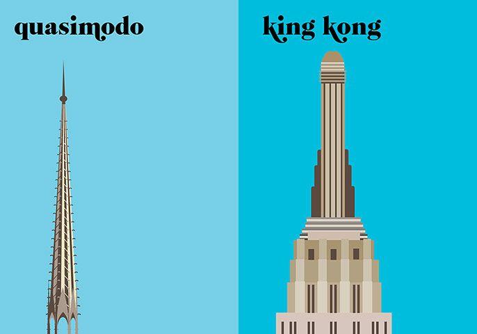 Graphical depiction of Paris vs. New York. Very cool ~: Art Design Illustrations, Empire States Building, Paris Versus, Coffee Tables Books, Desert, Graphics Design, New York, Newyork, Coff Tables Books