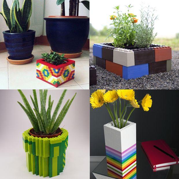 Vasos para plantas feitos com Lego;