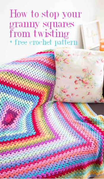 Giant granny square crochet blanket - free pattern and how to stop your granny square from twisting | from floral and feather