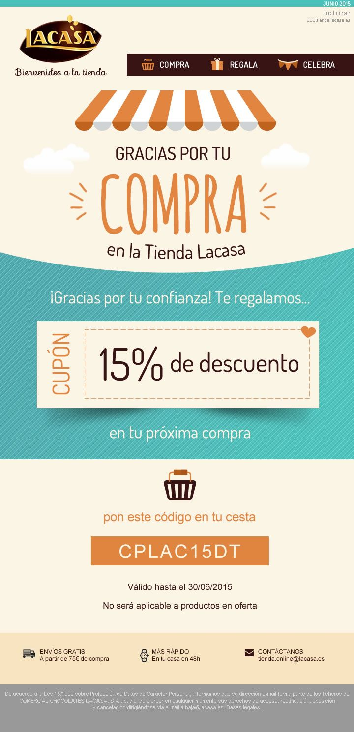 LACASA · The automated, personalised e-mailing sent to customers of our Online Store after their first purchase, encouraging a second sale with discount · Responsive format for mobiles · 2015