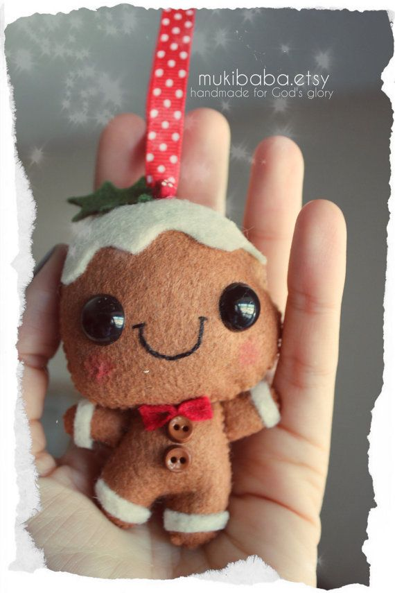 Gingerbread Man Felt Ornament Christmas decoration by mukibaba