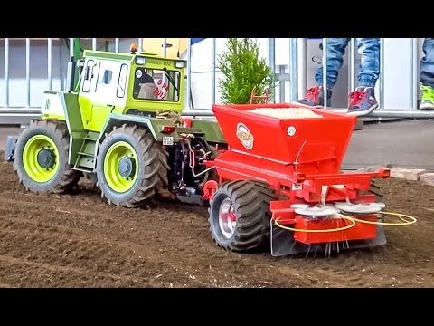 RC tractor MB-Trac 45KG(!) in 1:8 scale sows a field! Amazing R/C model! - YouTube