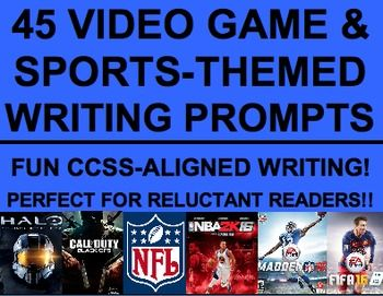 Sports & Video Game-Themed Writing Prompts: Engage Reluctant Readers: NO PREP CCSS-aligned sports & video-game activities! Reuse over & over to engage reluctant learner all year! Practice informational, persuasive and narrative writing!! Your student will LOVE! Motivate reluctant learners, struggling students and unmotivated students #sportswritingprompts #videogamewritingprompts