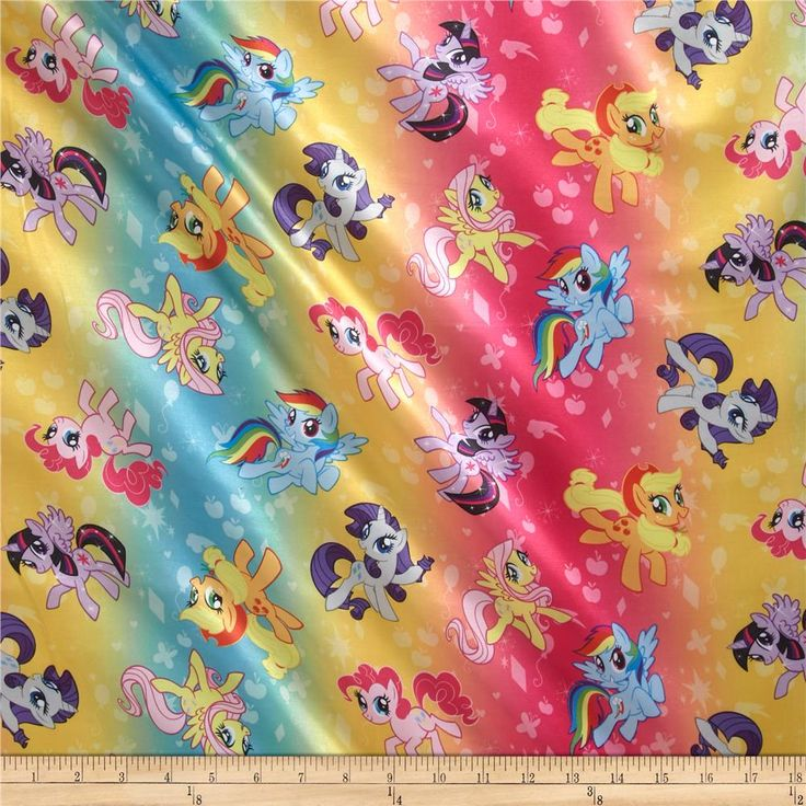 Hasbro My Little Pony Ombre Toss Brushed Back Satin Rainbow from @fabricdotcom  This lightweight satin fabric is perfect for princess loungewear, play clothes, blankets and more. It features a smooth shiny surface and a very soft brushed cotton backing.