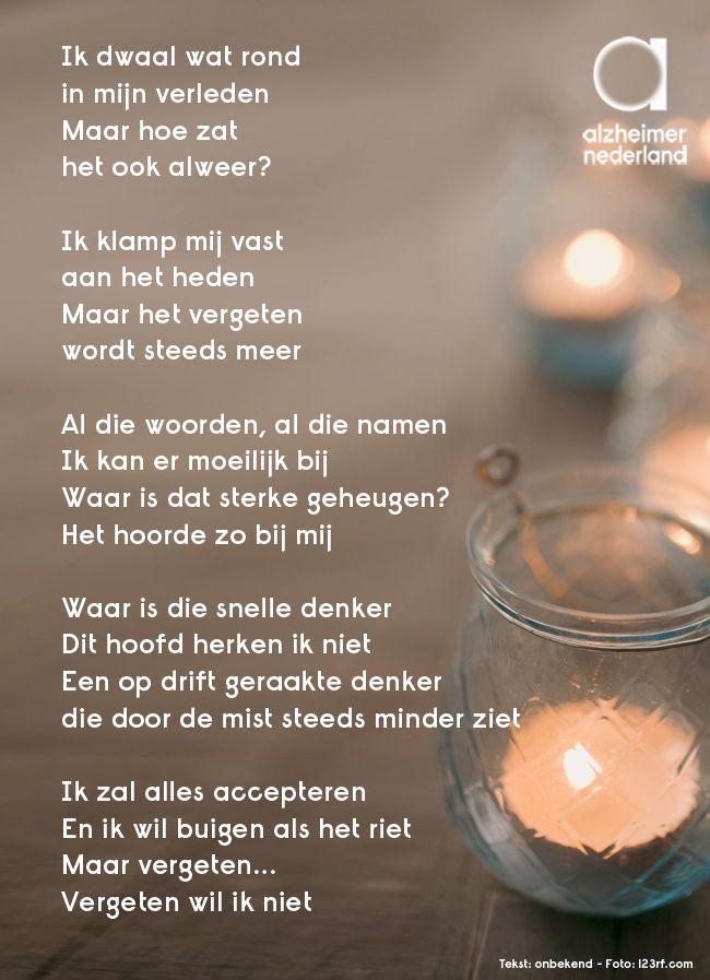 Vergeten wil ik niet #gedicht #alzheimer #dementie