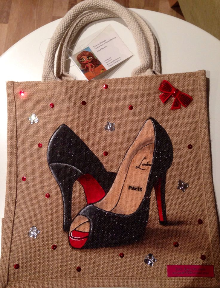 By Emily -em Original Bag Designs. Another Louboutin Design. Proving very popular. Medium Jute bag, 30 by 30 cm