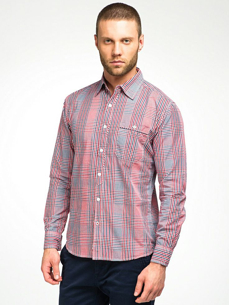 M266396.   Classic yet casual check made in white, red and blue with fine details on button placket, a shirt that can be worn with jeans for a club or office just everyday.