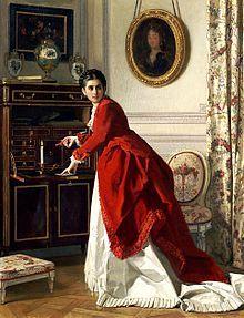 Charles Baugniet (Bruxelles 1814 - Sèvres 1886 ), peintre belge.  Femme écrivant une lettre.