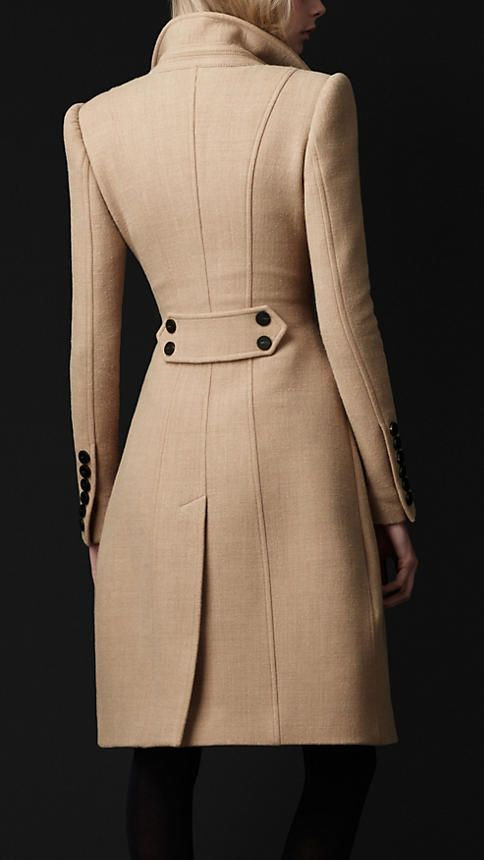 Crêpe Wool Tailored Coat by Burberry