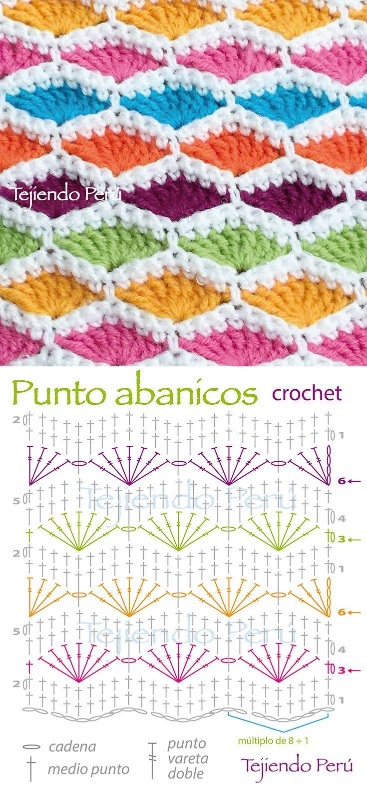 Crochet: punto abanicos de colores! ༺✿ƬⱤღ  https://www.pinterest.com/teretegui/✿༻
