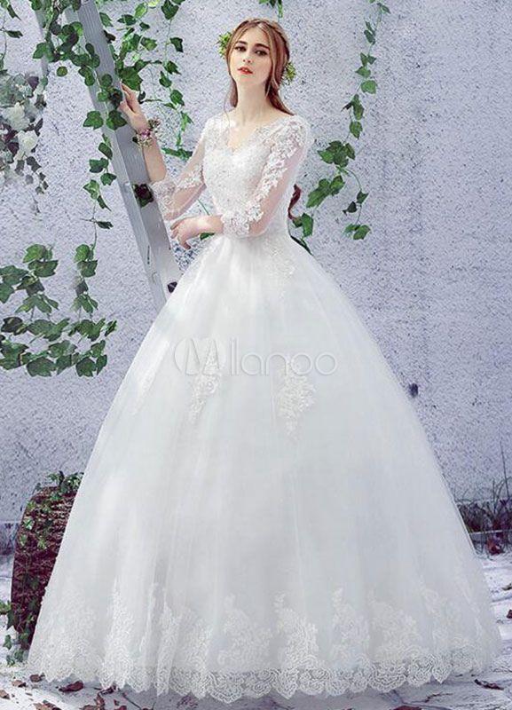 Marfim casamento vestido laço V pescoço 3/4 comprimento manga ate acima perolização andar vestido nupcial a linha de comprimento - Milanoo.com