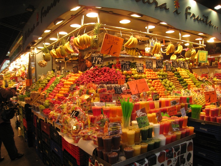 La Boqueria Market in Barcelona, Spain. A feast of colors and tastes