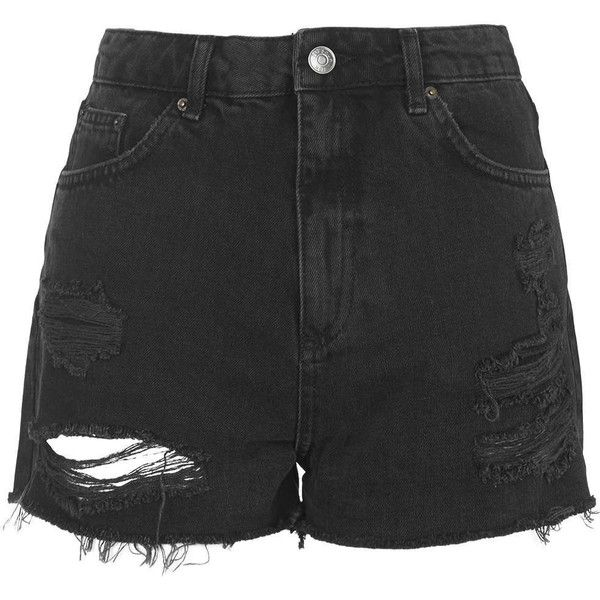 TOPSHOP TALL MOTO Black Ripped Mom Shorts ($58) ❤ liked on Polyvore featuring shorts, bottoms, pants, short, black, high-waisted shorts, distressed denim shorts, high-waisted denim shorts, ripped jean shorts and black shorts
