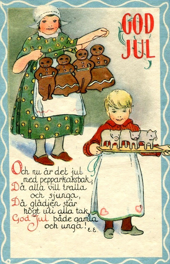 "very loosely translated:     ""And now is Christmas with pepparkaksbak  All want to dance and sing   The glad tidings star to the ceiling   Merry Christmas to the young and old"""