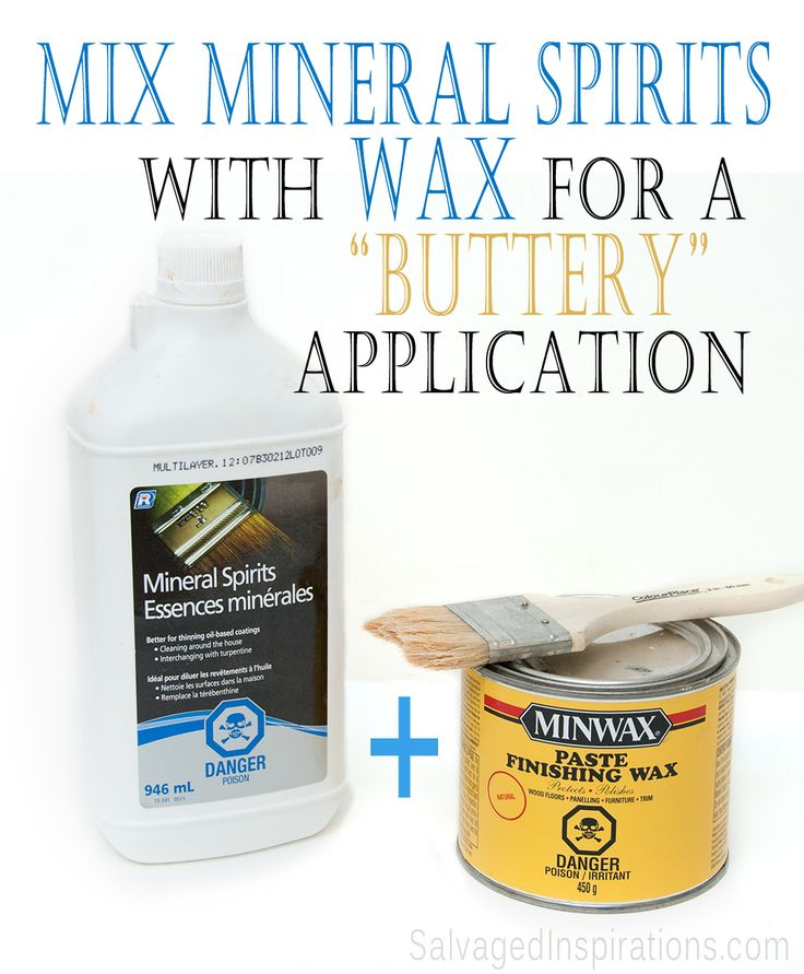"Salvaged Inspirations | Addicted to expensive ""boutique"" soft furniture waxes? Try adding a small amount of mineral spirits to inexpensive shelf brand waxes and get the same buttery application!"