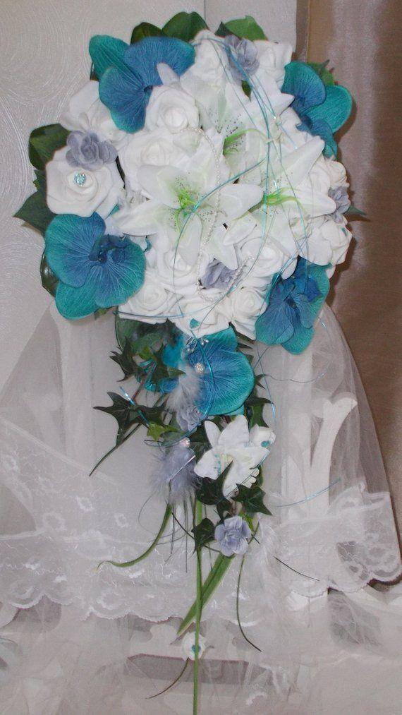 premier coup d'oeil meilleur authentique styles frais bouquet mariée bleu turquoise et blanc bouquet cascade ...