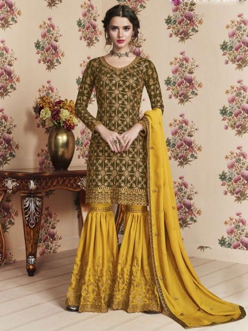 9bbc363b88 Mehndi green georgette heavy embroidered sharara suit online which is  crafted from georgette fabric with exclusive
