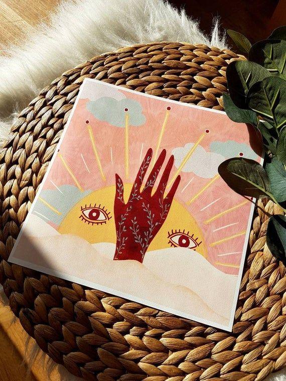 Artprint spirituelle Sonne | Yoga-Kunst | Boho | Henna Hand | Sonnenaufgang | Boho-Stil | Wüste | Yogistyle | Sonnenschein | Shine Bright