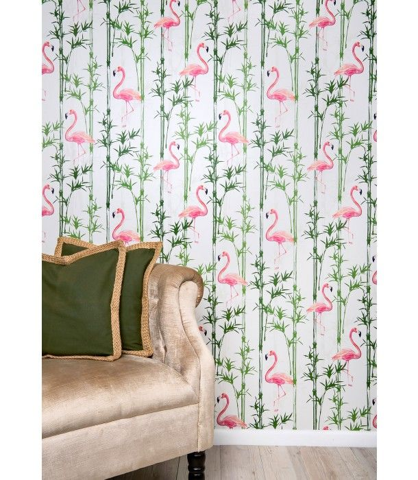 You can't help but feel excited about life when there's a flamingo print involved. A delicate take on tropicana, the Tropic Like it's Hot wallpaper will brighten any room.