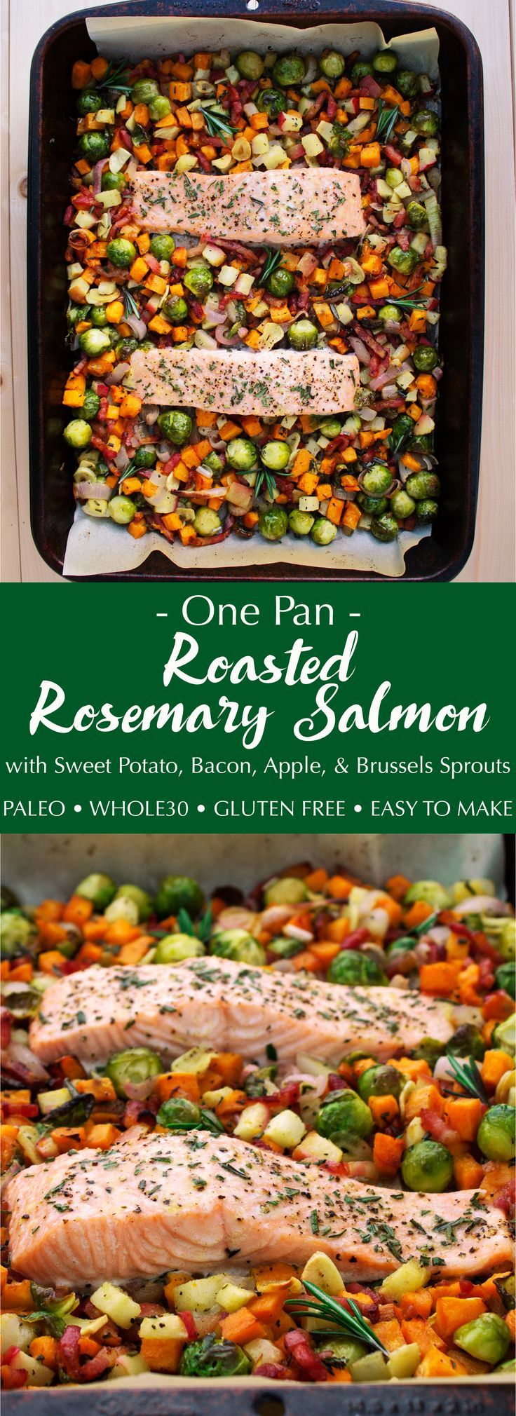 This one pan dinner is perfect for an easy weeknight meal. Roasted salmon accompanied by delicious fall veggies. And it's all paleo and Whole30!