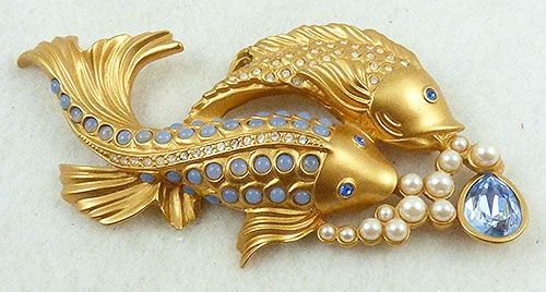 Elizabeth Taylor for Avon Sea Shimmer Koi Fish Brooch - Garden Party Collection Vintage Jewelry