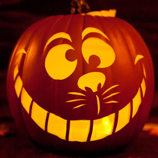 crations dhalloween modle de sculpture de citrouille en forme de chat du cheshire